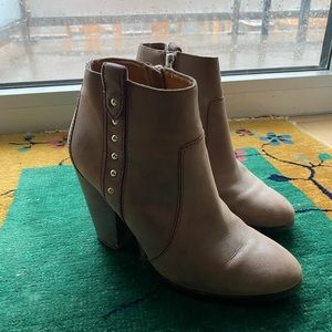 Coach brown studded leather booties 7.5